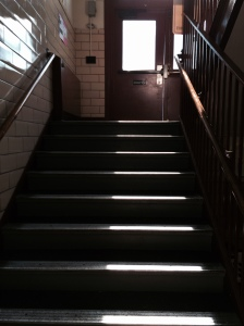 Steps into school basement